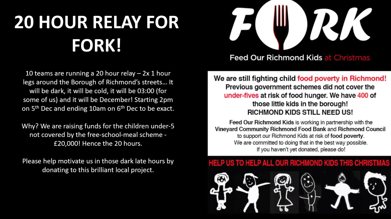 24 hour relay run to raise money for Richmond Foodbank charity called FORK.